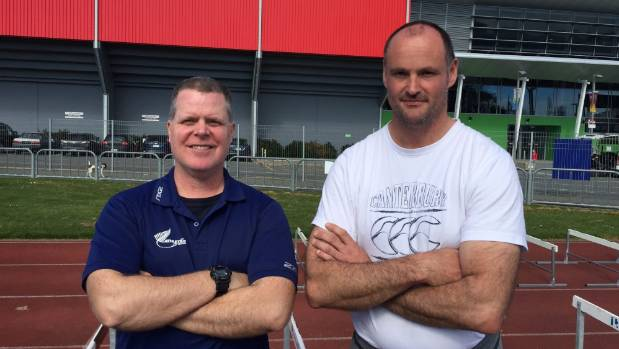 Athletics New Zealand high performance hurdles coach Joe Hunter, left, and Southland coach Chris Knight at Surrey Park ...