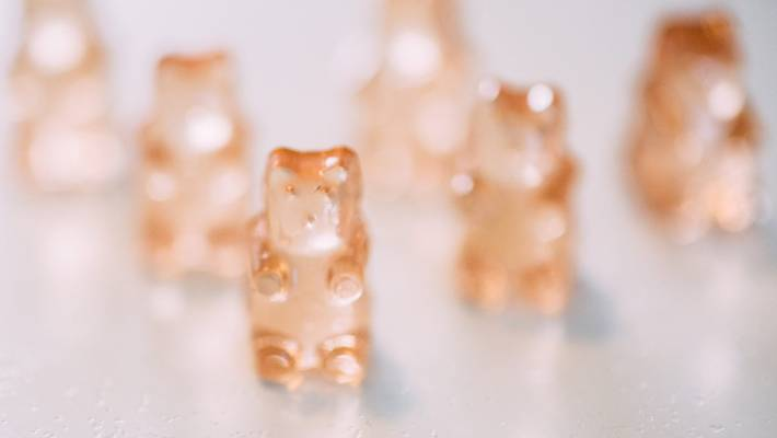 Rose wine gummy bears, made by lolly lover Terry Hendricks, of Snowdog Confectionery.