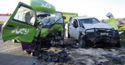 Six people were injured, four seriously, after a campervan and ute crashed near Orari.