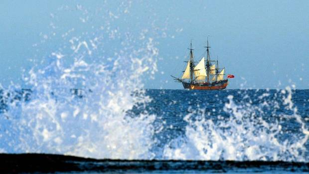 The Endeavour replica heads up the coast off Sydney in 2005