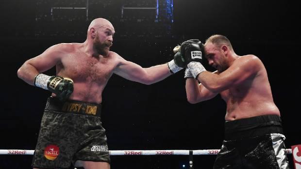 Tyson Fury and Francesco Pianeta during their 10-round heavyweight contest in Belfast Northern Ireland