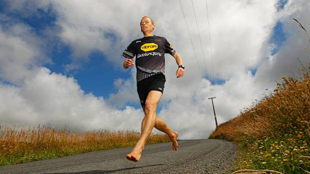 A former barefoot running advocate, Brendon Keenan won his age-group in the Tauranga race, in a time of 02:58:19.
