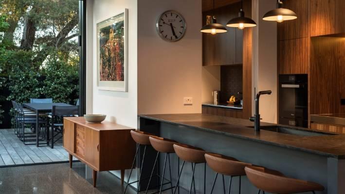 Natural Walnut Kitchen Island In Summit New Jersey: Grey Lynn Villa Hides An Award-winning Extension At The