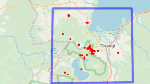 A map showing the locations of the swarm of quakes that occurred near Lake Taupo.