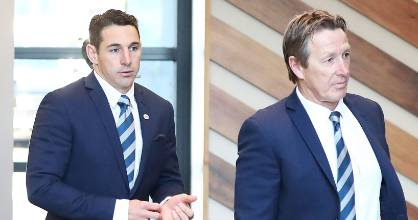 Billy Slater and  Melbourne Storm Craig Bellamy ahead of his judiciary at NRL HQ in Sydney, Australia.