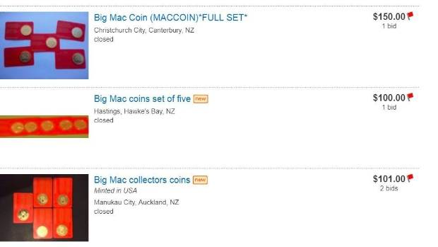 Collectors are buying giveaway Big Mac coins for big money on Trade Me