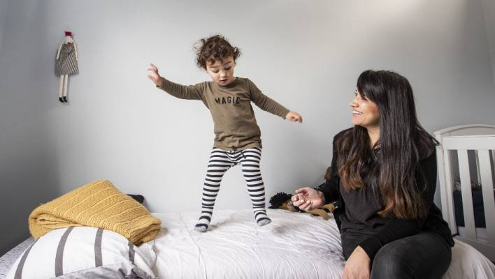 What bedtime? Emily Leggett is worried toddler Tāne's routine will be affected by daylight saving.