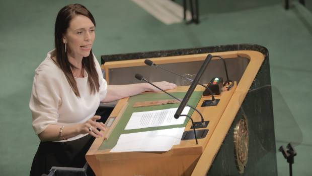 Jacinda Ardern makes her speech directly challenging the view of the world outlined by US President Donald Trump.
