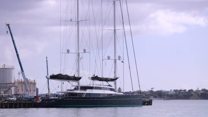 One of the largest sailing superyachts docks in Auckland