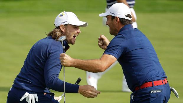 Francesco Molinari right and Tommy Fleetwood have been unbeatable at the Ryder Cup