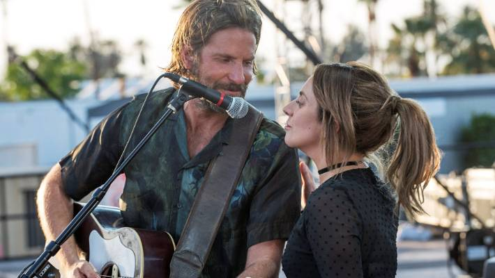 Lady Gaga and Bradley Cooper in A Star Is Born. The duo have two Grammy noms for their song from the film, Shallow.