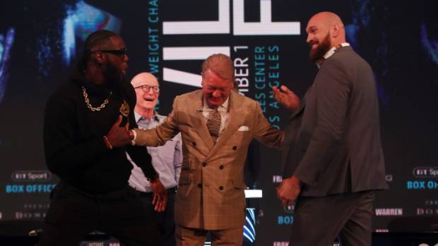 Fury and Wilder shower each other in compliments after tense press conference