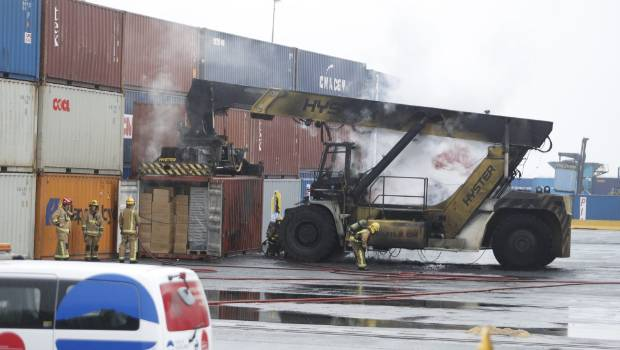 The fire scorched a container stacking machine at the Ports of Auckland.