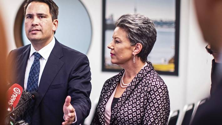 Simon Bridges, flanked by his assistant, Paula Bennett, in the Oct. 2 announcement that Jami-Lee Ross was standing because of health problems.