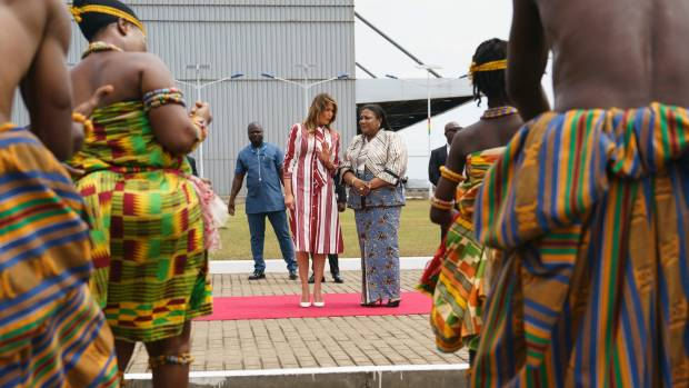 Melania Trump opens Africa tour with wave and baby in arms