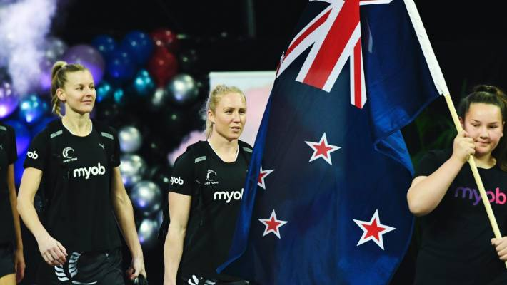 innovative design 343a9 15a1b New captain Laura Langman, centre, leads the Silver Ferns onto the court  against England