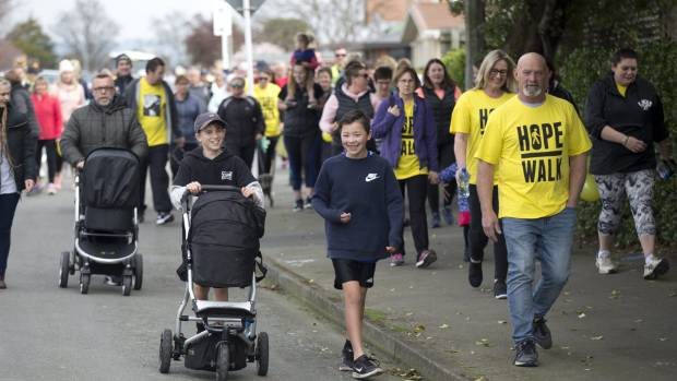 The Timaru Hope Walk last month which started at Centennial Park and finished at the Caroline Bay Soundshell