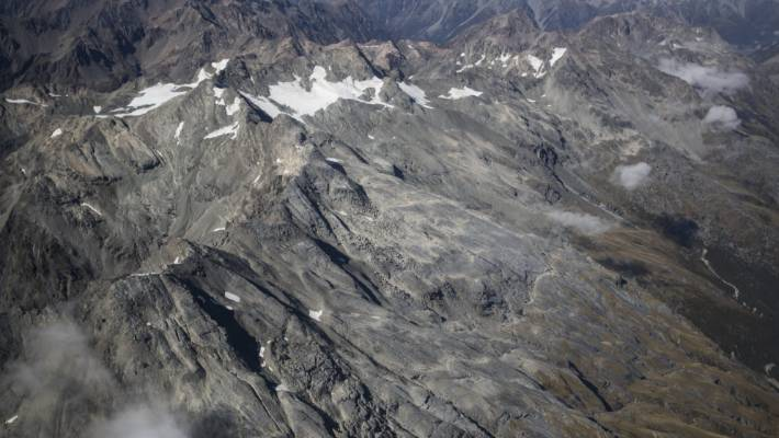 The largely bare Southern Alps at the end of summer, 2018.
