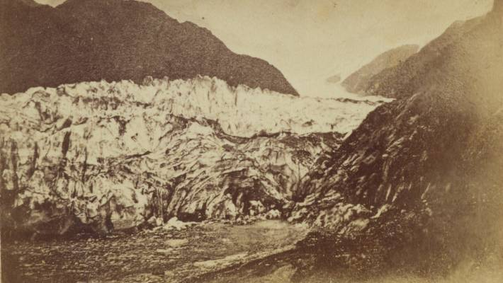 The first photo of Franz Josef glacier, taken by Thomas Pringle in 1867.