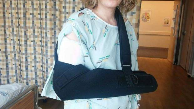 Abrams had to have two surgeries and a year of physiotherapy to mend her broken arm.