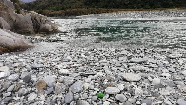 The Waitaha River on the west coast of the South Island. Aerial 1080 was placed in the main riverbed and on the surrounding tracks. The supposed precision of aerial application resulted in baits submerged in the river itself, Emma Richardson says.