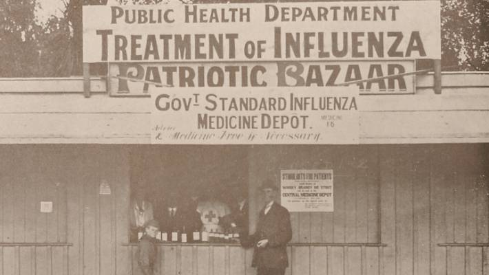 Historical image from Weekly Press of 1918. The medicine depot in Cathedral  Square where the