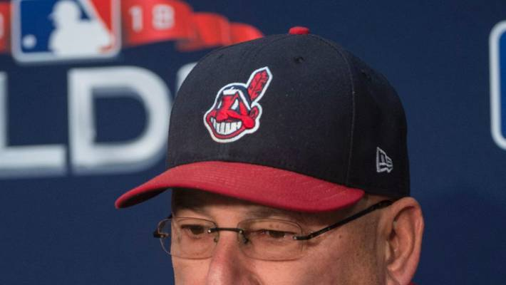 5b4c2000b776e2 Chief Wahoo, as seen on the hat of Cleveland Indians manager Terry Francona.