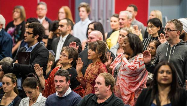 New citizens can pick between an Oath of Allegiance to the Queen (BYO holy book), or a secular Affirmation of Allegiance.