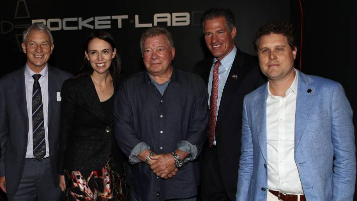 (L-R) , Mayor Phil Goff, PM Jacinda Ardern,  Actor William Shatner, US Ambassador Scott Brown and Rocket Lab CEO Peter Beck during the opening of the new Rocket Lab factory on October 12, 2018 in Auckland, New Zealand.