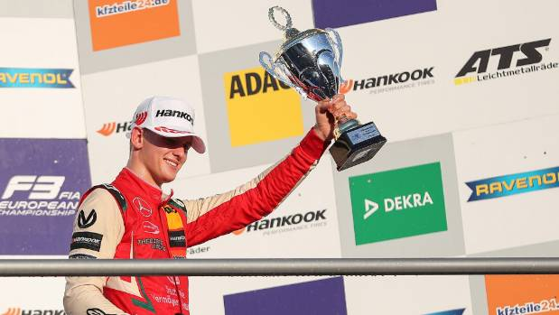 Mick Schumacher son of Formula One superstar Michael Schumacher celebrates claiming the European Formula 3 Championship