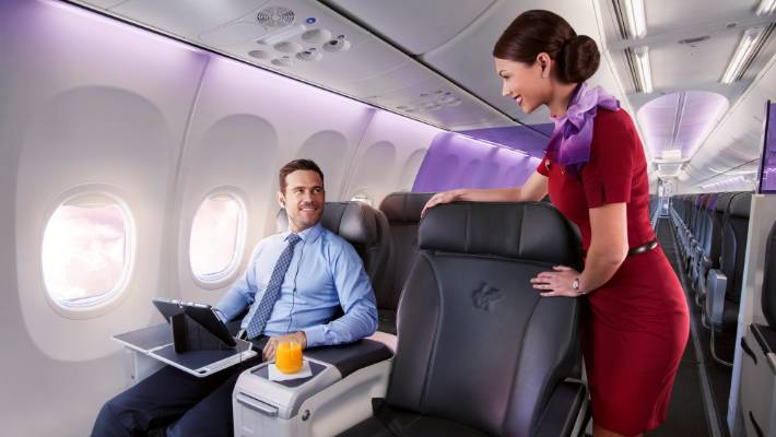 Virgin Australia's 737-800s feature eight business class seats. Business and premium leisure customers are a key market for Virgin.