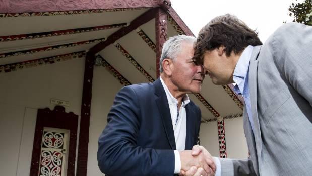 Claimants John Tamihere, former Prime Minister, and Simon Royal (right), President of the National Hauora Coalition, Hongi on Tūrangawaewae Marae on Tuesday.