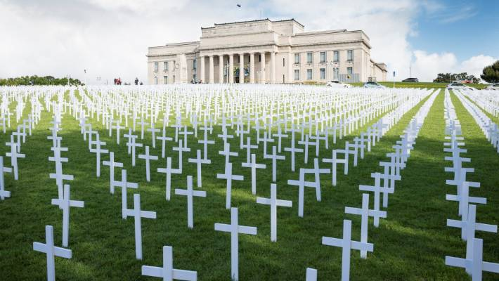 The Field of Remembrance opposite the Auckland War Memorial Museum has a cross for every soldier killed in World War I.