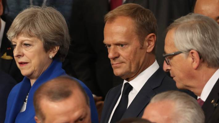 Karl du Fresne:  British Prime MInister Theresa May   has been taunted and humiliated by pompous Eurocrats Donald Tusk, centre, and Jean-Paul Juncker, right