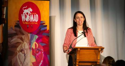New Zealand Prime Minister Jacinda Ardern praises Taranaki at the Womad launch in the Parliament building in Wellington ...