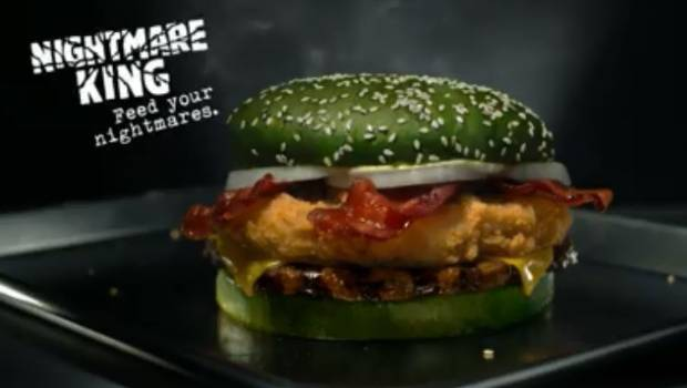 Burger King debuts green 'nightmare' cheeseburger with beef and chicken for Halloween