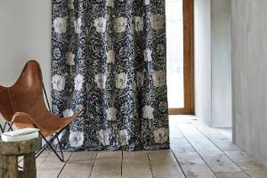 The Pure Morris collection available from Textilia includes the classic Honeysuckle and Tulip Embroidery design.