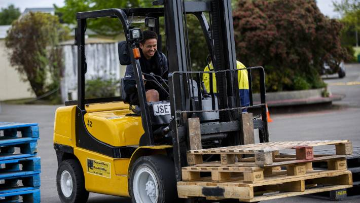 Queen Elizabeth College student Antonio Felton, 16, completes his forklift assessment, as part of his work-ready passport.
