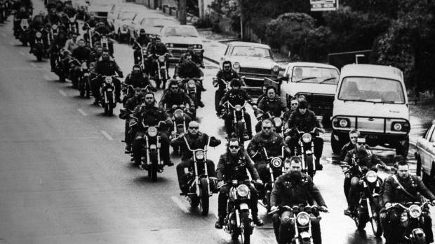 The Devils Henchmen during a ride in the 1970s.<br />