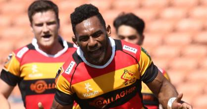 Sevu Reece celebrating his first try after returning for Waikato following last week's suspension.