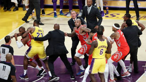 Here's the Lakers-Rockets Brawl That Got 3 Players Suspended