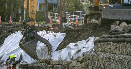 Citycare workers at Christchurch's Eastern Terrace, working on remediation of the Heathcote River banks to reduce ...