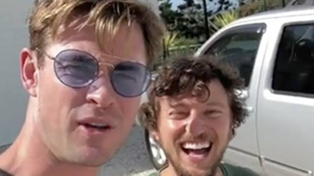 Watch Thor's Chris Hemsworth Give a Hitchhiker a Helicopter Ride