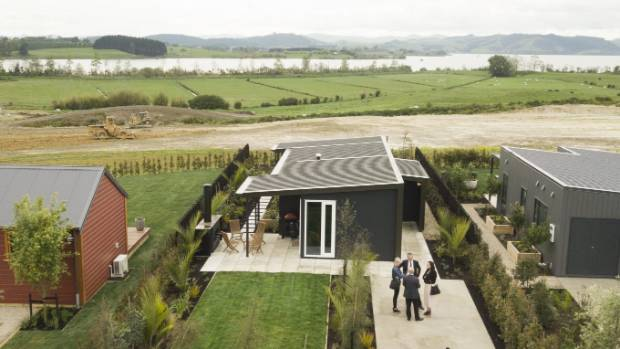 The KiwiBuild showhome with Lake Waikare in the background.
