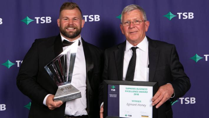 James Annabell, left, and Toby Annabell with the Supreme Award at the TSB Taranaki Chamber of Commerce Business Excellence Awards on Saturday, October 27.