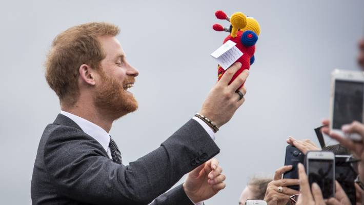 Prince Harry seemed thrilled with his Buzzy Bee gift