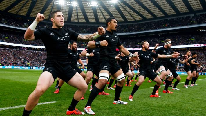 The All Blacks perform the haka prior to the test against England in London in 2014