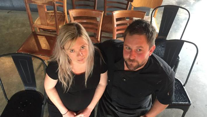 Black Rabbit Kitchen & Bar owners Katie Funnell and Jimmy Fairweather, who are only allowed to operate with 12 chairs inside their busy Central Otago cafe.