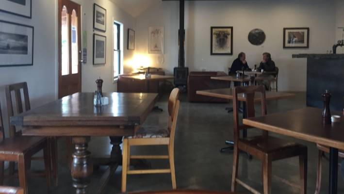 Twelve chairs are scattered around lonely-looking tables at the Black Rabbit Kitchen & Bar in Bannockburn, Central Otago.