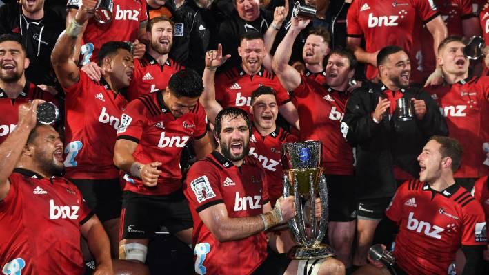 a4ea9c654ed The Crusaders celebrate their 2018 Super Rugby title win in Christchurch.